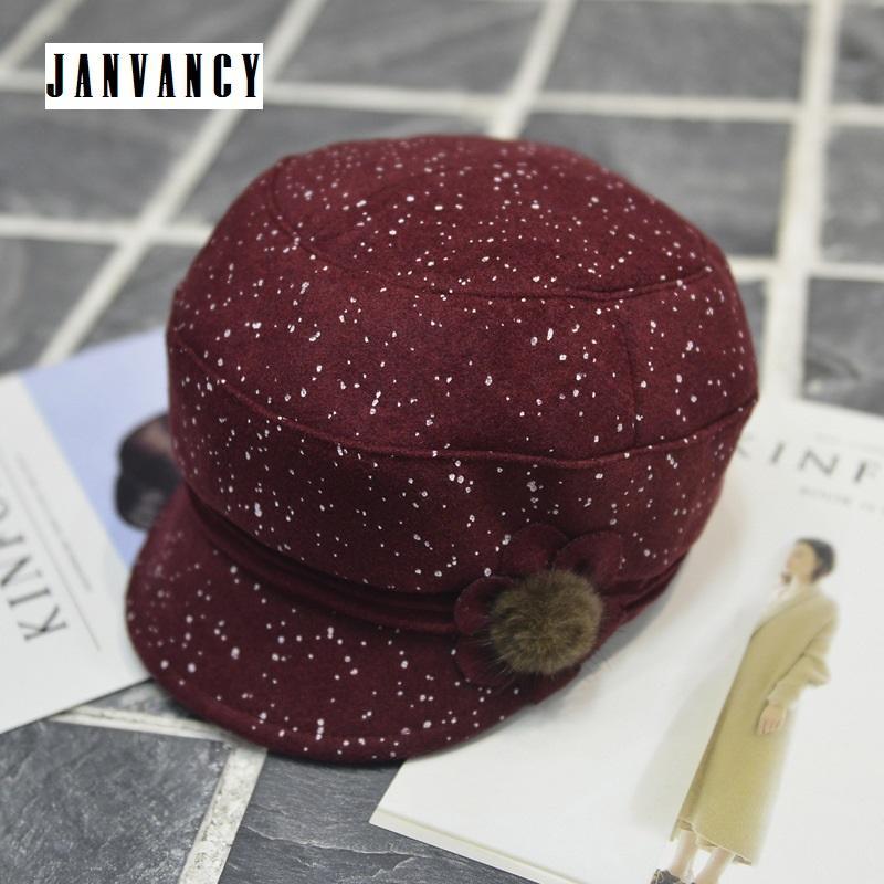 e1a16e4e0213 Sombrero de vendedor de periódicos de lana de lunares retro para mujeres  Pintor Calabaza con pompón peludo Noble Elegante Señora Negro Rojo Vintage