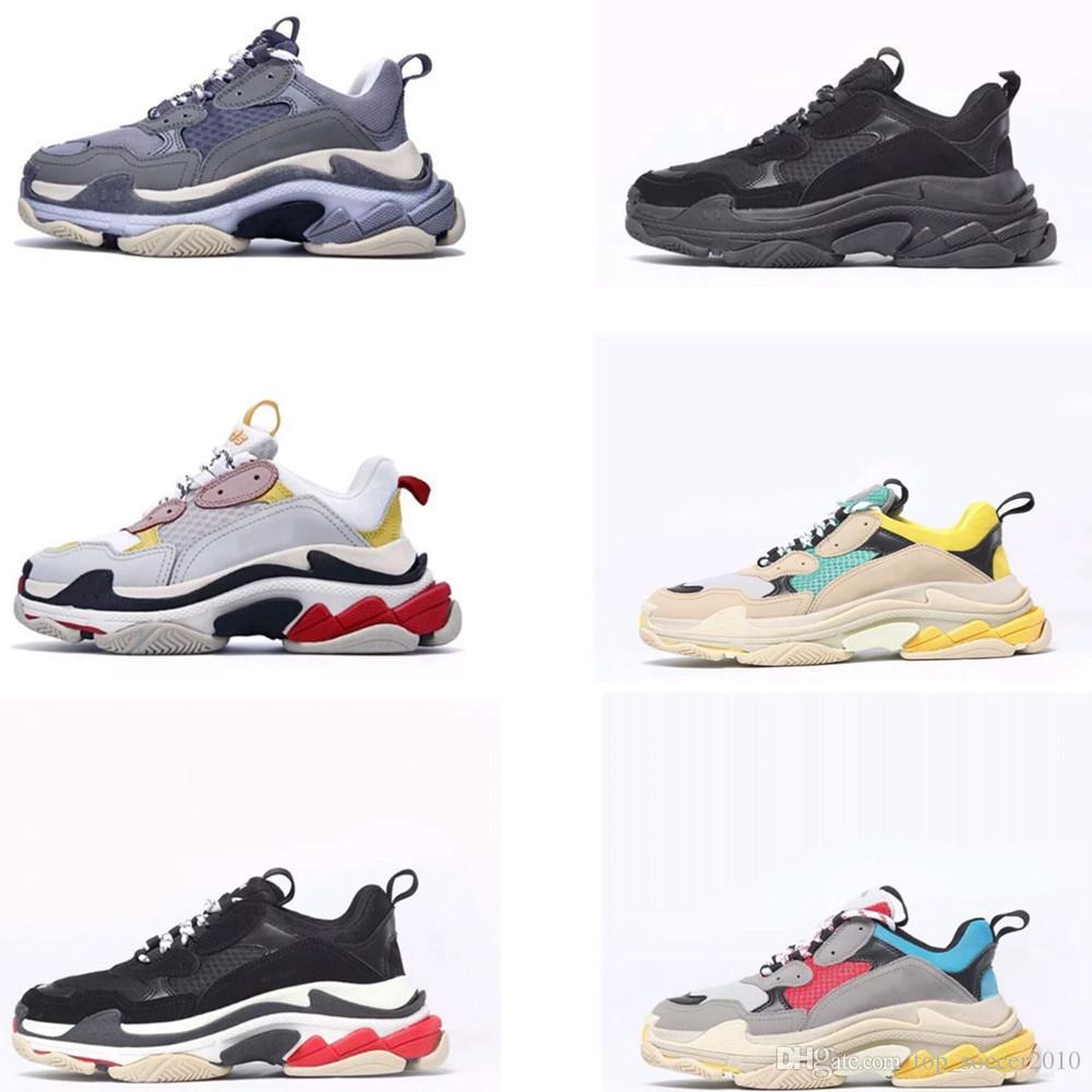 premium selection 6f5d4 eda3b Acheter 2018 Triple S Hommes Et Femmes Bottes Rétro Chaussures De Course  Chaussures Pour Hommes Top Qualité De La Mode Bottes Baskets De Sport  Bottes De ...