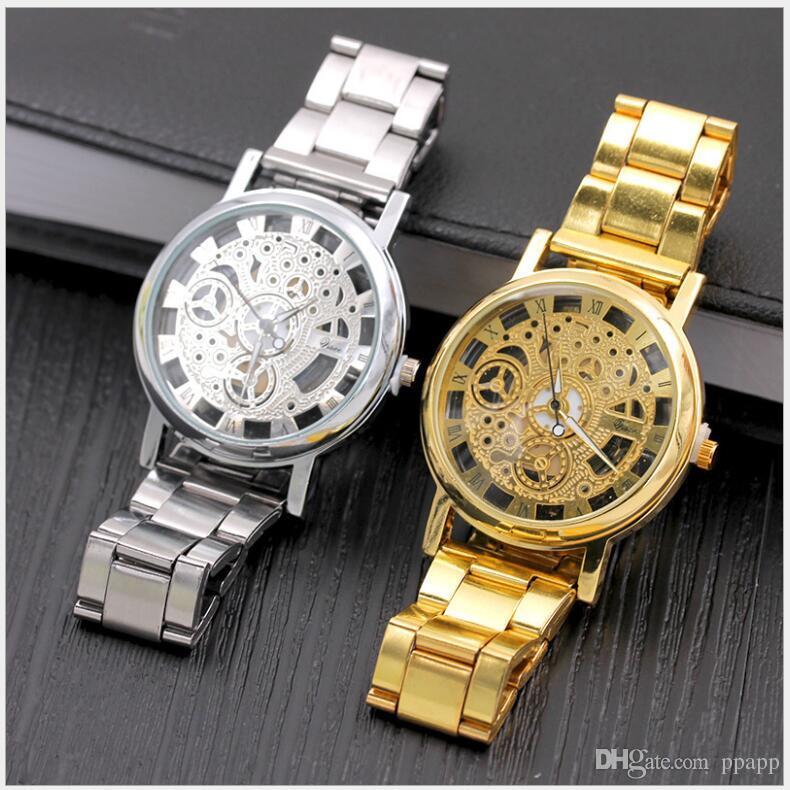 178d1d1f618 Compre Marca De Prata De Ouro De Luxo Oco De Aço Relógios Homens Hombre Retro  Relogio De Pulso De Quartzo Moda Casual Homem Mulheres Unisex Relojes De  Ppapp ...