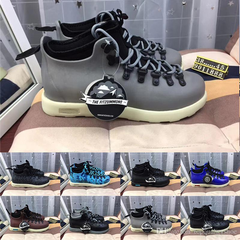 9dc02ca53 Fashion Luxury Designer Women Boots Native Fitzsimmons Mens Camouflage Blue  Green Grey Leather Waterproof Martin boots Botas Casual Shoes