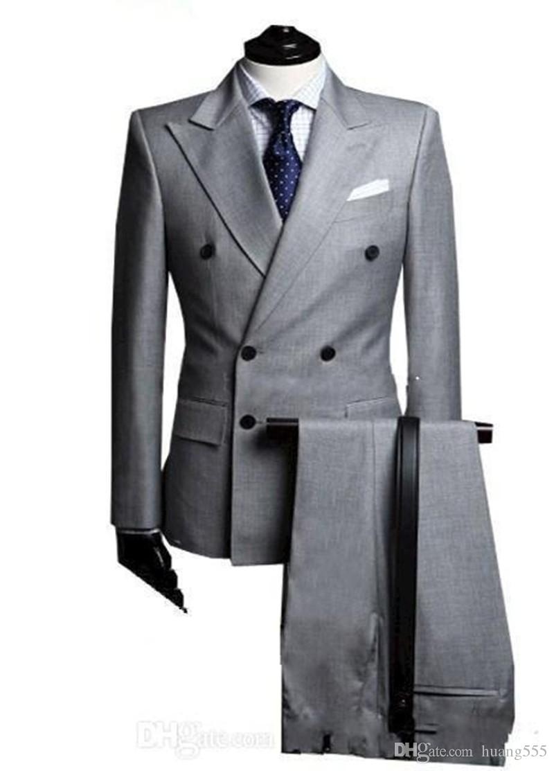 New Double-Breasted Side Vent Light Grey Groom Tuxedos Peak Lapel Groomsmen Mens Wedding Tuxedos Prom Suits (Jacket+Pants) 700