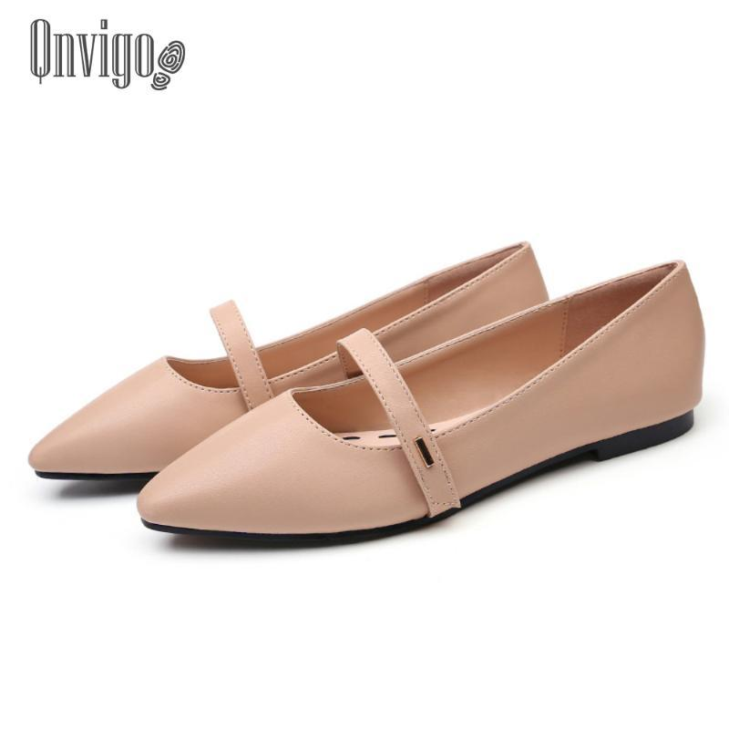 Qnvigo Casual Shoes Ballet Shoe Flats Pointed Toe Classic Elegant Women's Shoes Autumn Spring Office Flat 2020 New