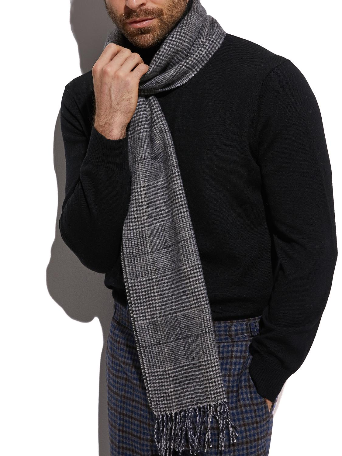 2020 Highly Selected 100% Wool Dark Grey Glen Check Scarf , Warm Winter Men Scarf Glen Plaid Comfortable Material Y200110