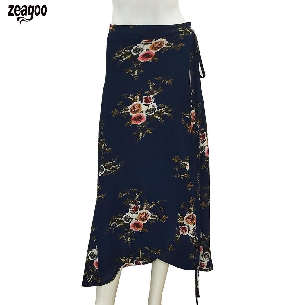 2e5a0ac2ed 2019 Women Fashion High Waist Full Length Summer Floral Drawstring ...