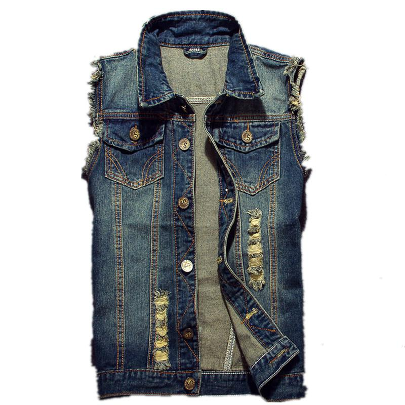Shirts 2019 New Style Men Denim Vest Sleeveless Waistcoat Holes Stylish Pocket S-6xl Slim Fit Spring Summer Complete In Specifications
