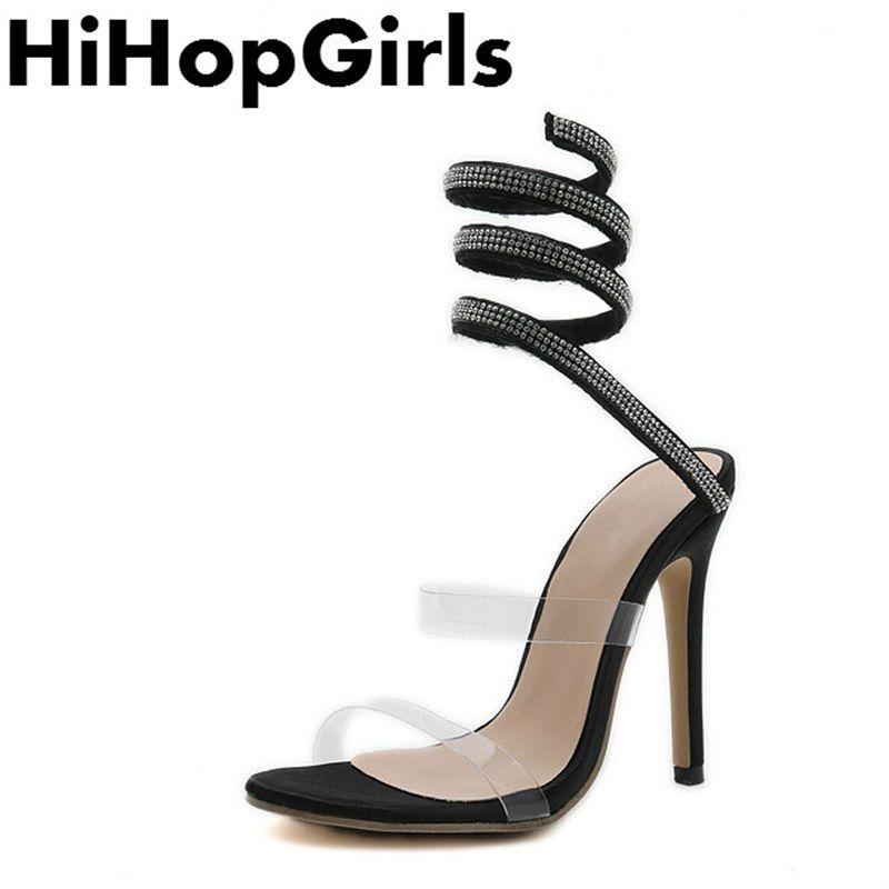 99b0debf8700 Dress Hihopgirls Summer Rome Pvc Transparent Rhinestone Pumps Women Sandals  Sexy High Heels Fashion Snake Shaped Ribbon Woman Shoes Penny Loafers Wedges  ...