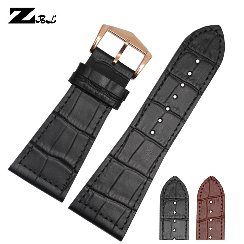 26mm 30mm watch band genuine leather watch strap black/brown band for FM6000H strap double head layer cowhide