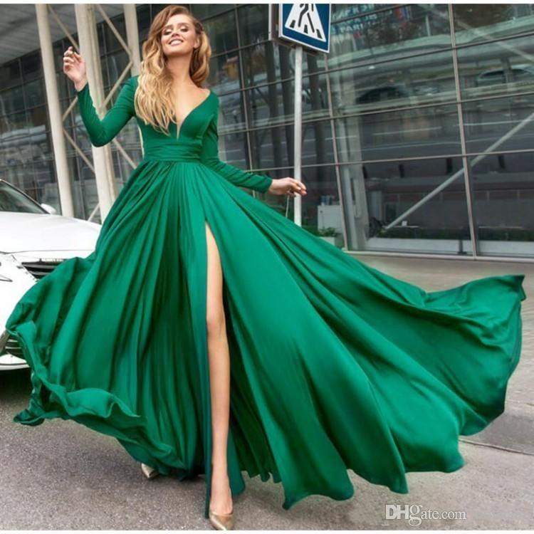 4128d6a0798 Simple Green A Line Long Prom Dresses 2019 Long Sleeve V Neck High Side  Slit Formal Evening Dress Floor Length Satin Party Gowns Plus Size Cheap  Prom ...
