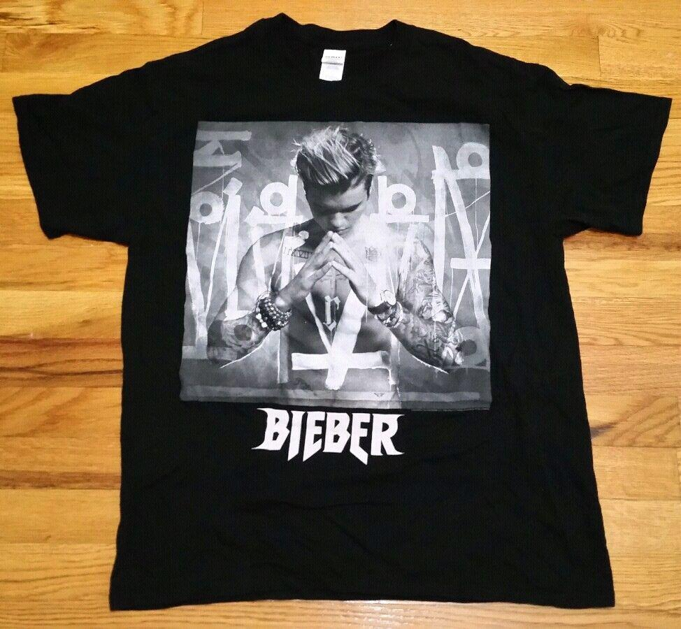 7be40962f Justin Bieber World Tour Concert Short Sleeve T Size L Purpose Tour  Merchandise RETRO VINTAGE Classic T Shirt Coolest Tees Awesome Tee Shirt  From Tradecup, ...