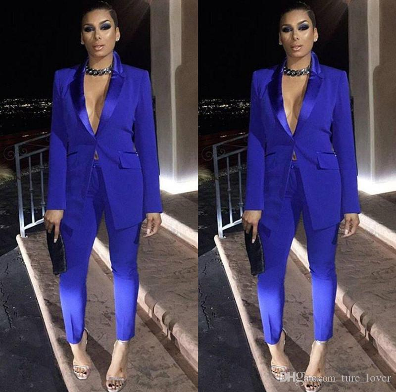 Royal Blue Mother of the Bride Dresses Ladies Party Suits Blazer Pant Formal Evening Dresses Office Work Sexy Tuxedos Mother Dresses Suits