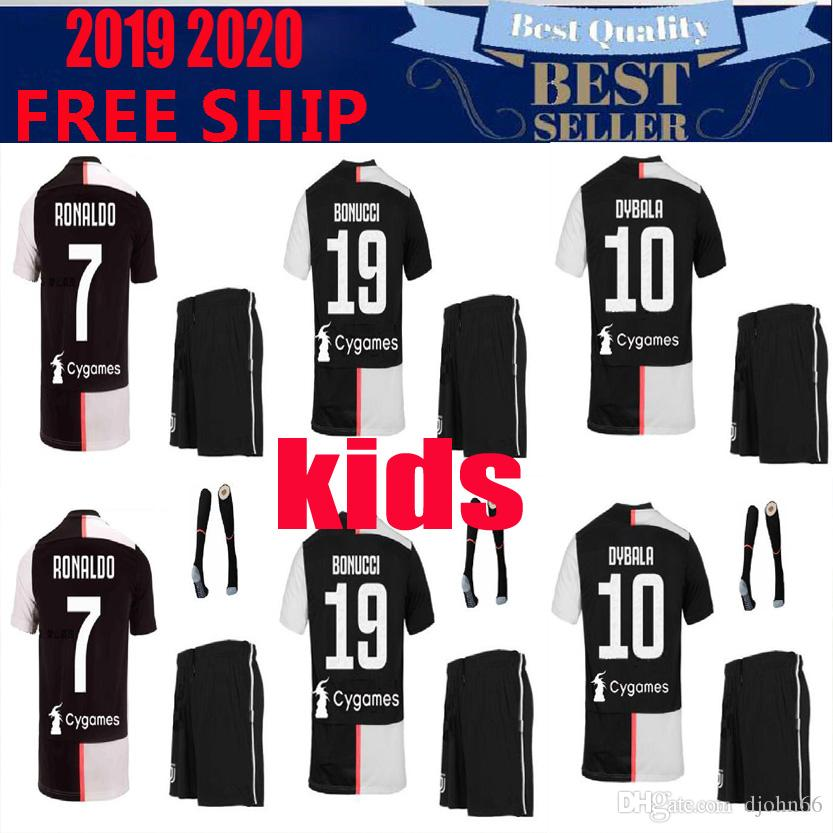 various colors 47a5d 2ca28 Thai New RONALDO JUVENTUS Soccer Jersey kids 18 19 20 7 JUVE CR7 9 Higuain  10 Dybala 11 Costa youth Football Shirt uniforms kits