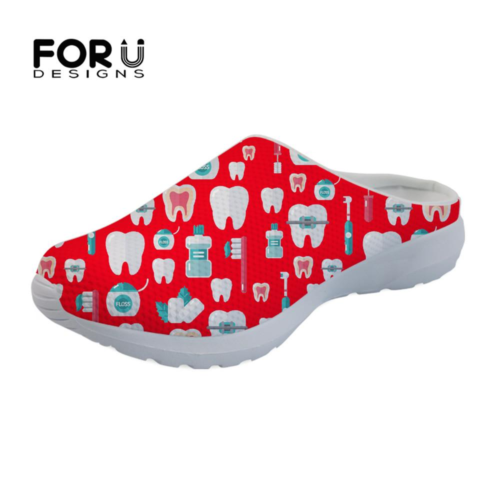 70a4d74b92c126 FORUDESIGNS Summer Slippers Women Casual 2019 3D Cartoon Dentist Pattern  Brand Breathable Slip On Mesh Sandals For Ladies Flats Ladies Slippers Boys  ...