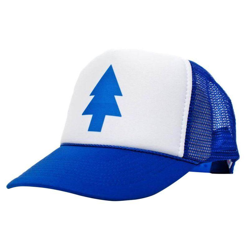 Unisex New Curved Bill BLUE PINE TREE Dipper Gravity Falls Cartoon Hat Outdoor Changable Cap Trucker only blue