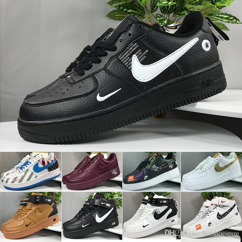 nike air force 1 one 2019 Men 1 Utility Classic Black White Women Casual Shoes red one Skateboard High Low Cut Entrenadores deportivos Wheaters tamaño 36-45