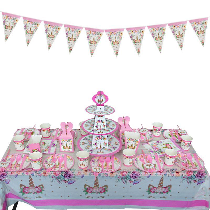 Fiesta de cumpleaños Decoración Niñas Invitación Tarjeta Banner Vajilla Desechable Kit Pink Unicorn Theme Theme Party Supplies
