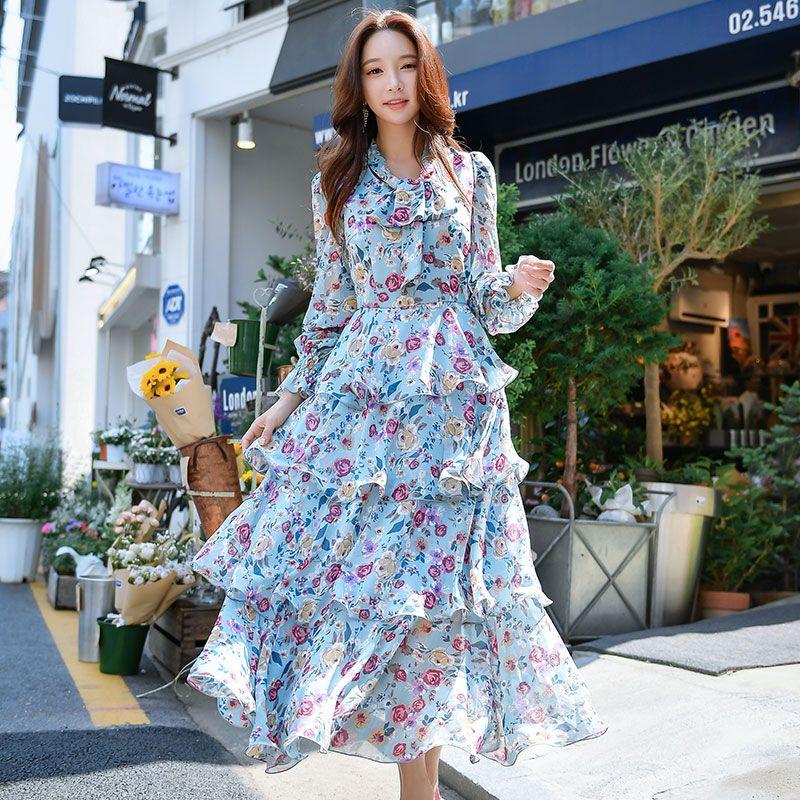 398d1d95eecde Dabuwawa Spring Chiffon Maxi Dress V Neck Floral Print Puff Sleeve ...