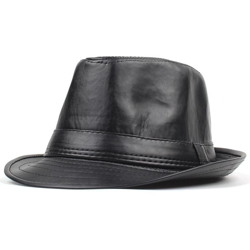 aafc81ce6b07e Compre Sombreros De Cuero De La PU Vintage Jazz Cap Cowboy Gentleman Bowler  Short Floppy Trilby Panamá Sombrero Hip Hop Negro Cap Hombres Mujeres  D19011102 ...