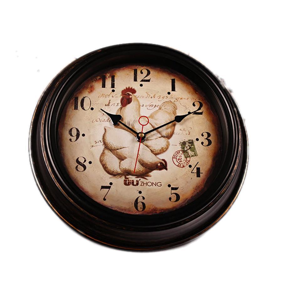 Farmhouse Decor Mute Antique Clock Animal Shabby Chic Mirror Vintage Wall Clock Silent Reloj Vintage Pared Luxury Home Decor 004