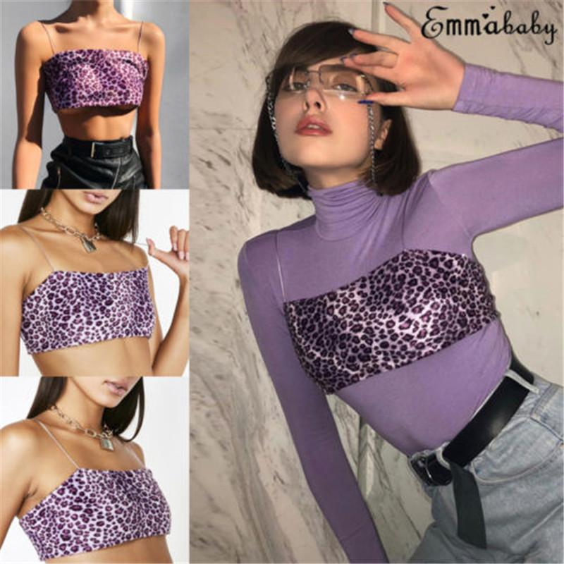 0c162e96e3 2019 Sexy Women Leopard Camisole Crop Tops Summer Strapless Square Collar  Printing Purple Tanks Ladies Tank Top Pullovers Chiffion From Zhaolinshe