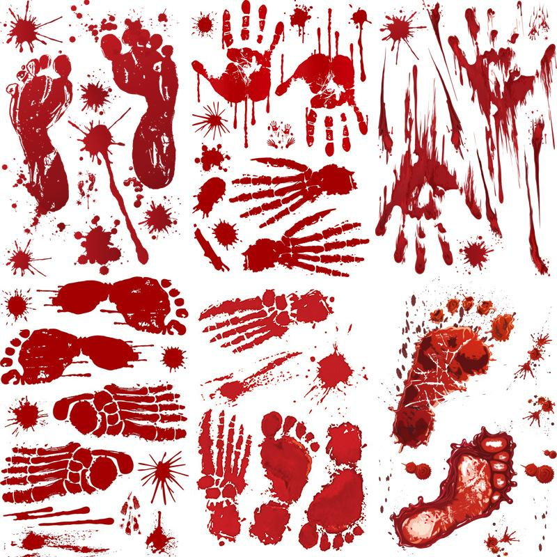 Halloween Self-Adhesive Stickers Backdrop Stand Red Blood Footprints Bloody Handprints Stickers Decoration 30*45CM