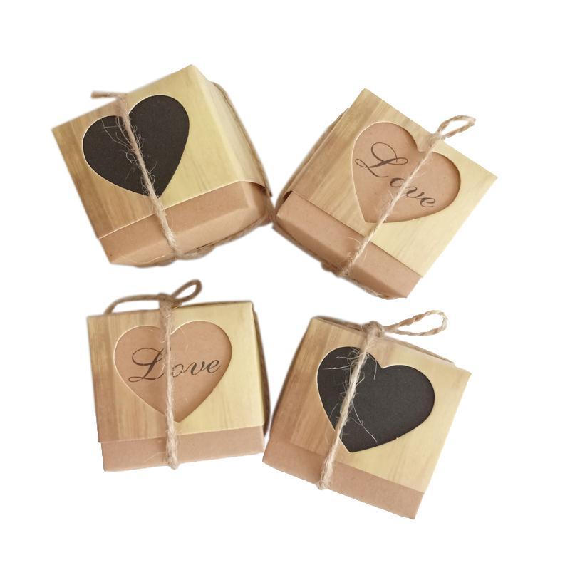 10 Teile / los Romantische liebe herz Kraftpapier Süßigkeiten Geschenkbox Hochzeit Pralinenschachtel mit Sackleinen Verpackung Taschen Platz Party für gast