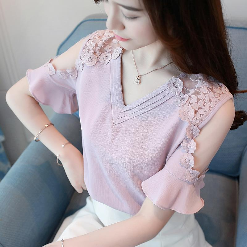 2019 Chiffon Blusas Floral Shirts Womens Elegant Open Shoulder Blouses Women flower embroidery Plus Size Female Tops 662i3