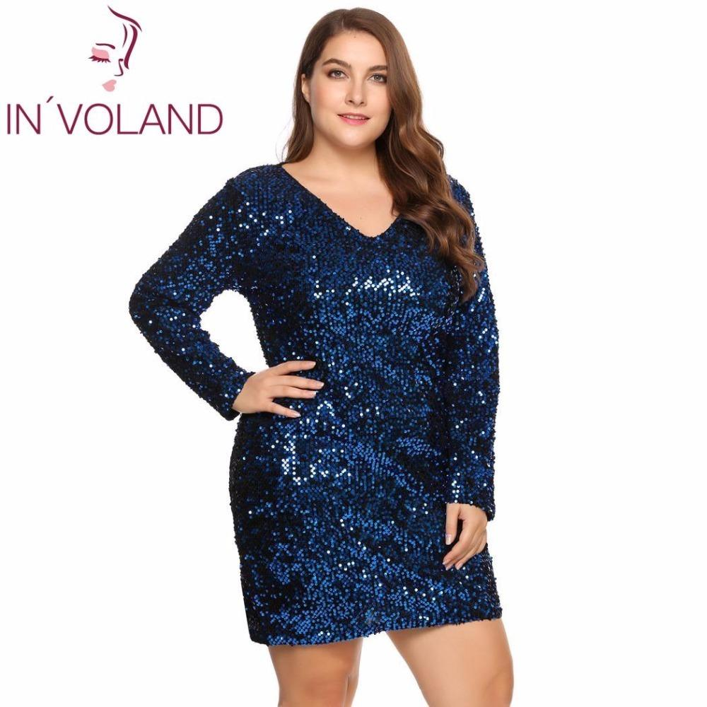 d78ef258e5bee In voland Large Size Xs-5xl Women Party Dress Sexy Sequined Bodycon  Cocktail Club Sheath Loose Big Ladies Dresses Plus Oversized Y190425