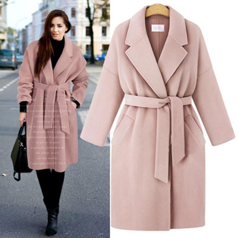 New Autumn Winter Women Coats Vestidos Casual Loose Plus Size Solid Turn-Down Belt Woolen Blends Coat For Women Large Outerwear