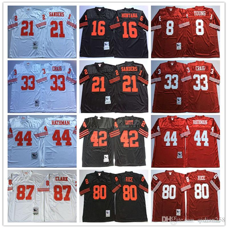 NCAA haute qualité Jersey Hommes 16 Joe Montana Deion Sanders 42 Ronnie Lott 44 Rathman Jerry Rice Dwight Clark Blanc Rouge Noir Football Jersey