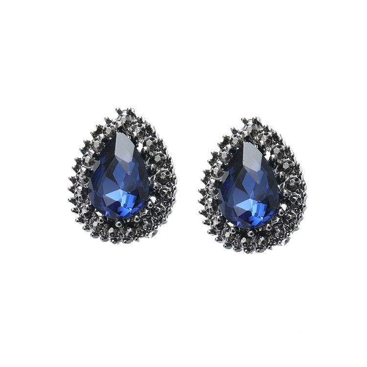 3dc816e2097a2 European and American ink and blue earrings, pure silver needle earrings,  Korean version, fashionable temperament, noble eardrops, black acc
