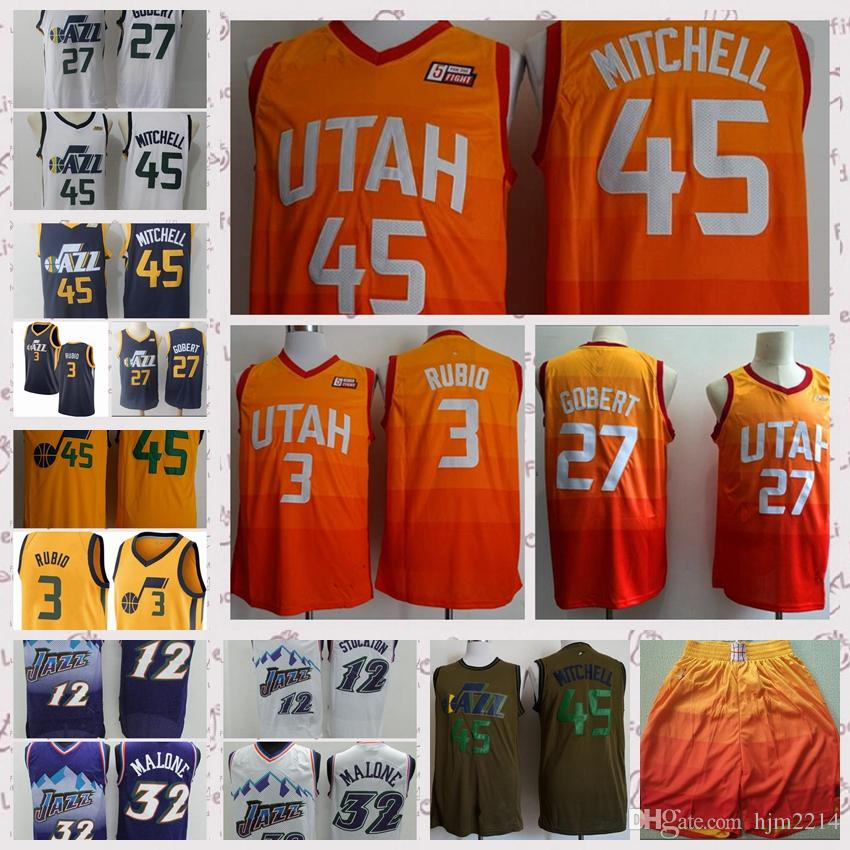 2019 2018 New Utah Mens Youth 45 Donovan Mitchell 3 Ricky Rubio Jersey 27  Rudy Gobert 2 Joe Ingles Jerseys The City Adult Jerseys And Shorts From ... cca9cb4eb