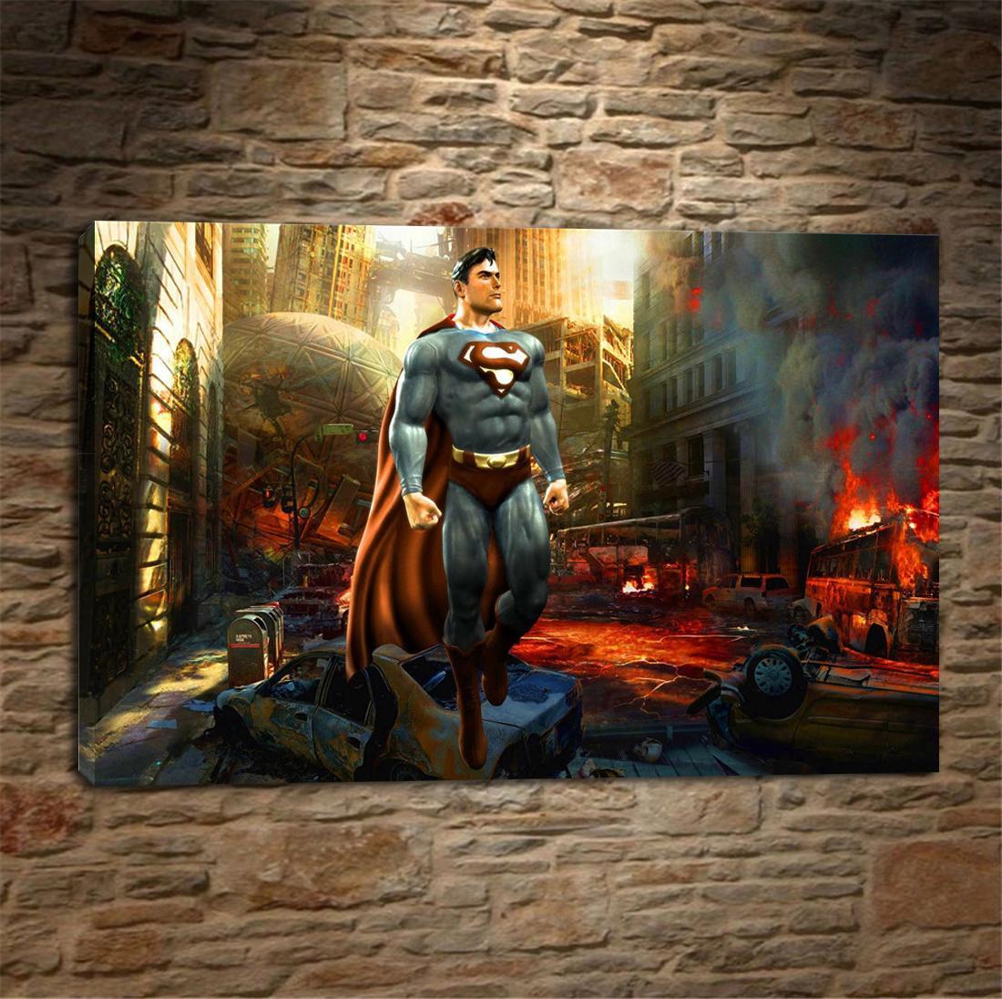 Satın Al Batman Arkham şövalye Superman Hd Tuval Baskı Ev Dekor