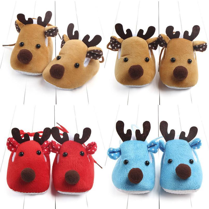 ce56bdef74f76 Acheter Hiver Chaussures De Bébé Nouveau Né Bébé Garçons Filles Chaud De  Noël De Dessin Animé Cerf Semelle Souple Anti Slip Chaussures Bébé Premiers  ...