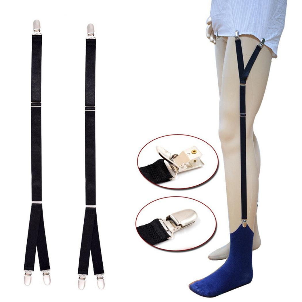 Men'S Shirt Stays Garters Suspenders Braces For Socking Adjustable Y Shape Strap Non-Slip Hosiery Clip Shirt Holders Clamps