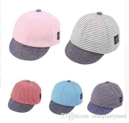 79c8b0d4394 2019 Baby Hats Cotton Infant Casual Striped Soft Eaves Kids Baseball ...