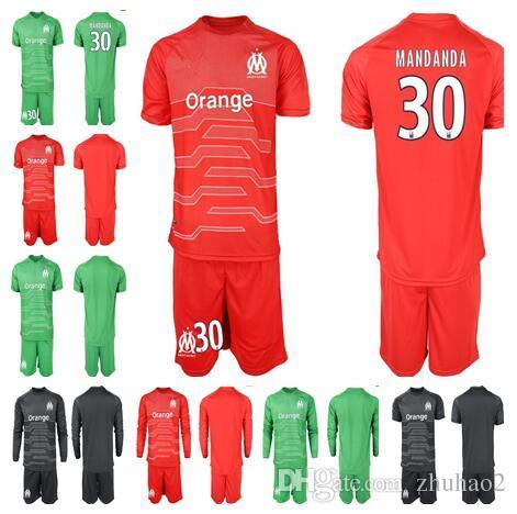 5202eb45c 2018 19 Olympique de Marseille Soccer Jersey Kit MANDANDA 30 PELE 16 OM  Marseilles Goalkeeper Set Marseille goalkeeper Shirt+shorts