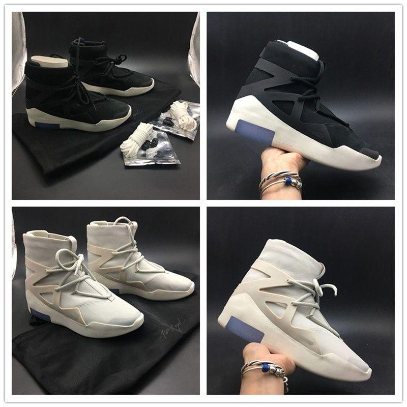 0f77d6ddea31 Newest Air Fear of God 1 Men Shoes FOG Boots Light Bone Black Sail ...