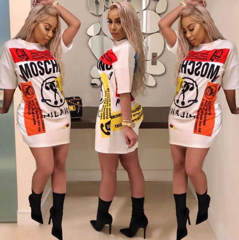8f6eed1dd4df 2019 Fashion T Shirt Dress Women Short Sleeved Shirt Mini Dresses Stitching  Casual Long T Shirts Summer White Dress Women Clothes Vestidos Trendy  Dresses ...