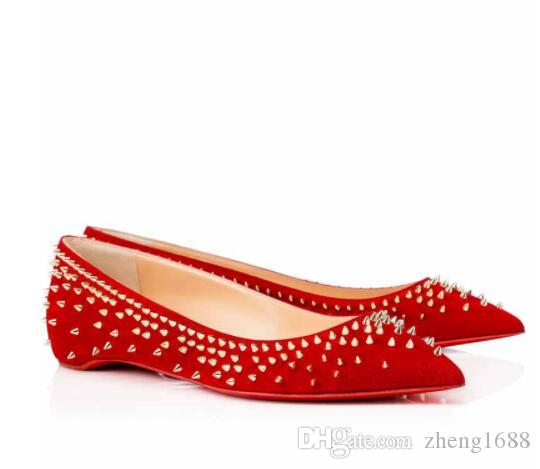 c6f47dbc516 Perfect Red Bottom Escarpic Flat Suede Leather Women Ballerinas Shoes With  Spikes Ladies Pointed Toe Women Party Wedding Party Black Red Vegan Shoes  Comfort ...