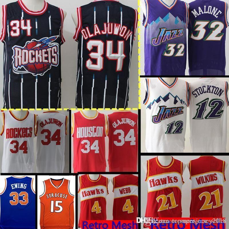 best service 380f2 d6b99 Houston Retro Mesh Rockets Abdul 34 Olajuwon Jersey Utah Mens Karl Malone  32 John 12 Stockton Dominique 21 Wilkins 4 Webb