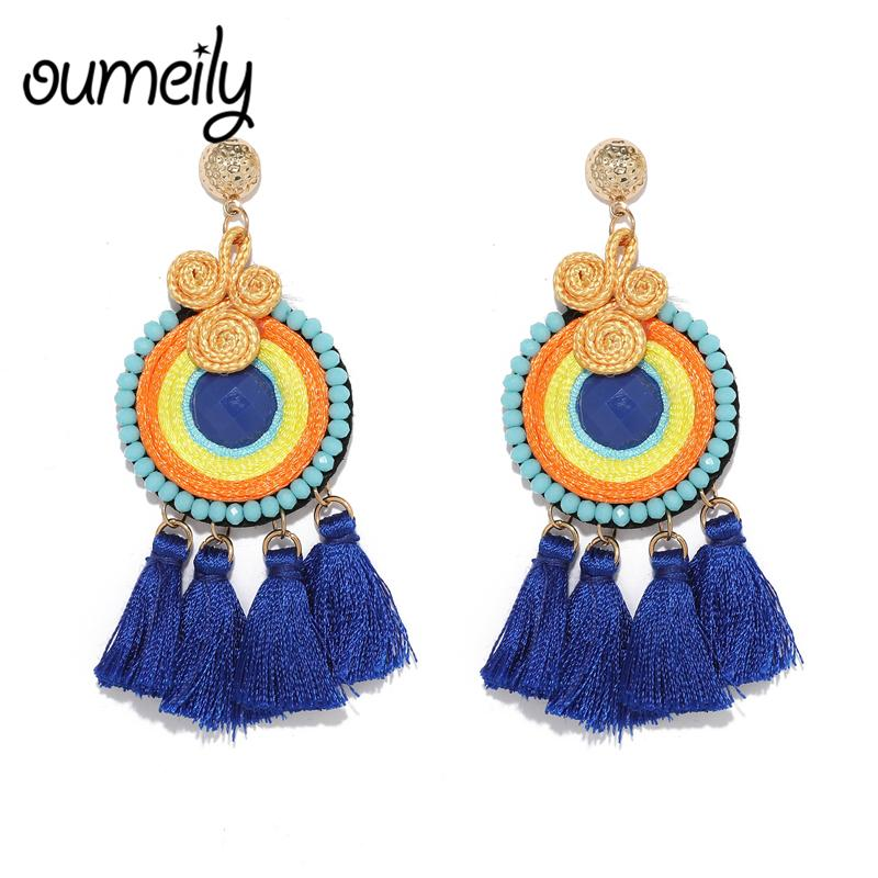 Nice Fashion Jewelry Statement Tassel Flower Vintage Long Women Bohemian Earrings Ethinic Gold Big Dangle Drop Earrings For Women 100% Original Drop Earrings