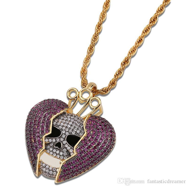 en vente en ligne sélectionner pour le dédouanement profiter du meilleur prix Prix bas d usine cassé coeur pendentif collier avec crâne marque New Bling  bijoux CZ pavé deux ton pendentifs colliers livraison gratuite