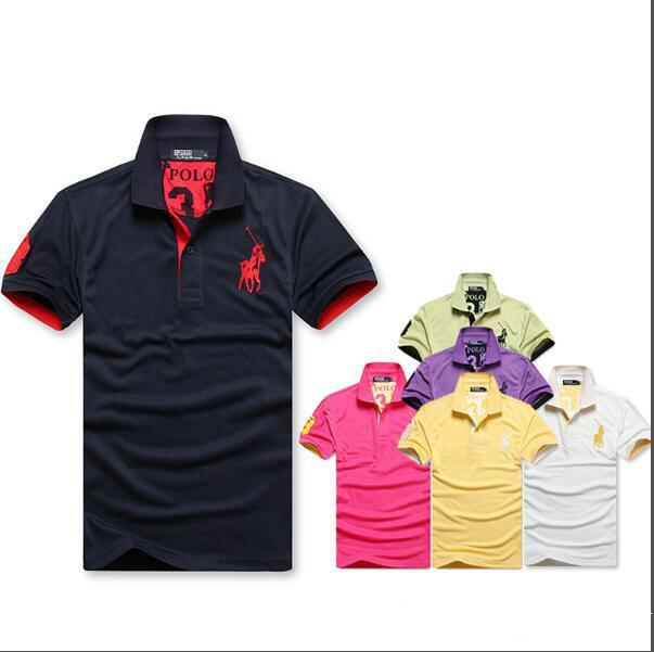 best sneakers fb248 674c5 Hot Luxury Big Horse Stickerei Polo Shirt Männer Kurzarm Casual Shirts mann  Solide Klassische T-shirt Plus Camisa Polo T Große größe