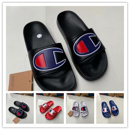 Champion Letters Brand Sandals Summer Designer Men Women Slipper Mules Slip on Flip Flops Flat Sandal Beach Rain Bath Shoes US 5.5-10 A42508