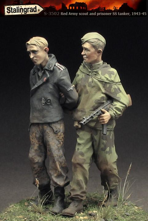 1/35 REISN FIGURES MODEL KITS Red Army scout and prisoner SS-tanker,  1943-45 Unassembled unpainted
