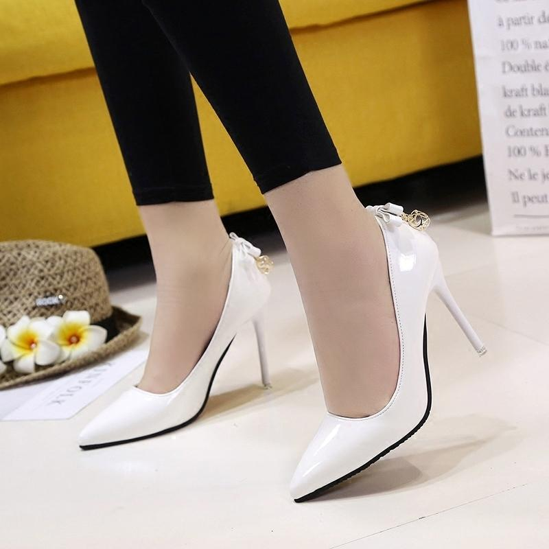 5a45925c6f8 Shoes Spring And Autumn New Women s Single Korean Fashion Pointed High  Heels Wild Shallow Mouth Bow Women s