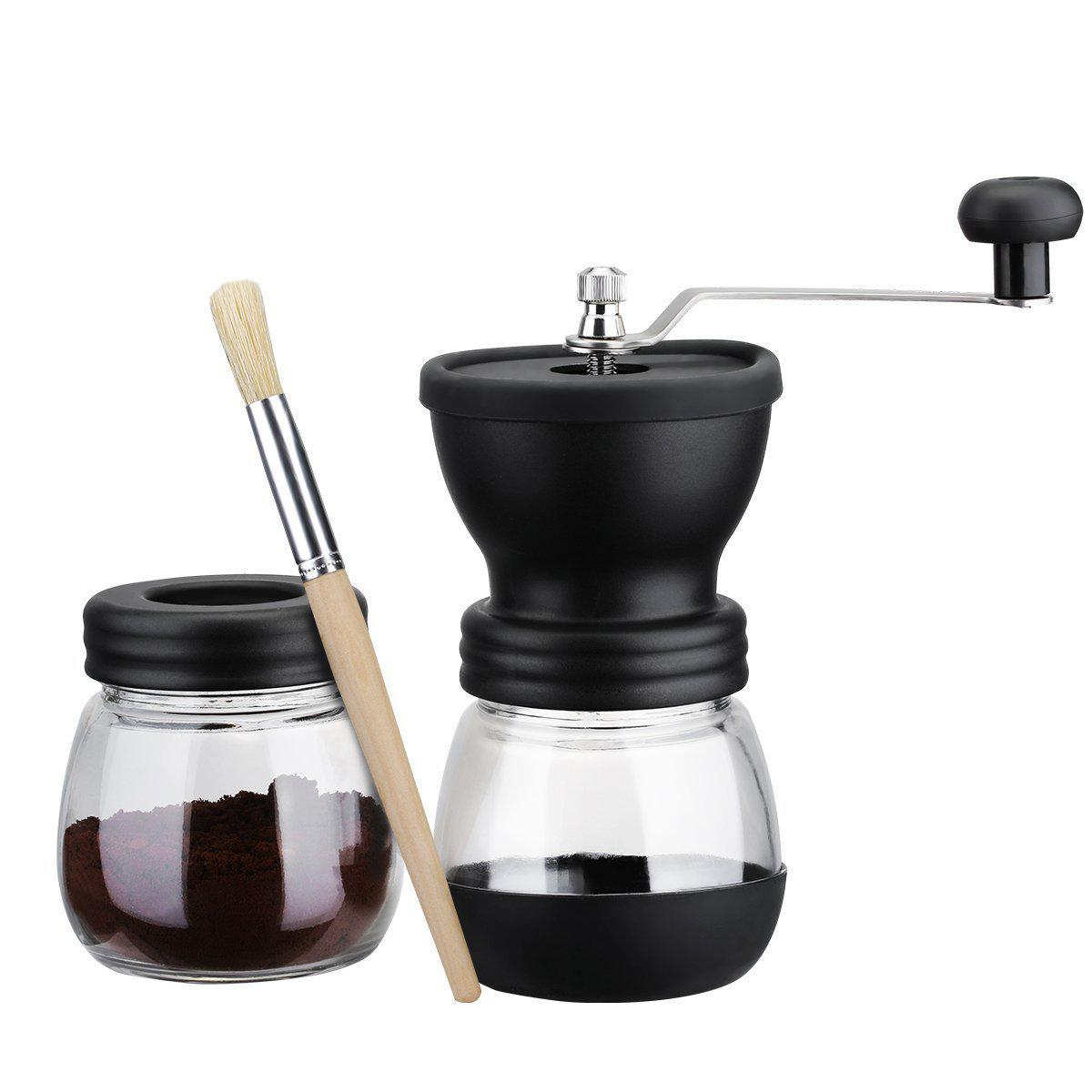 Manuelle Kaffeemühle mit Vorratsbehälter Weiche Bürste Konischer Keramikgrat Ruhig und tragbar