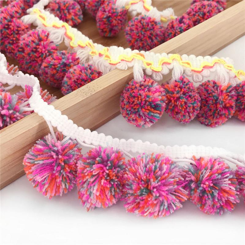 c06e007374a9c 5Yards Pom Pom Tassel Lace Trim Ribbon Ball Fringe Fabric Lace Decor DIY  Material Clothing Bags Curtain Sewing Craft Accessories