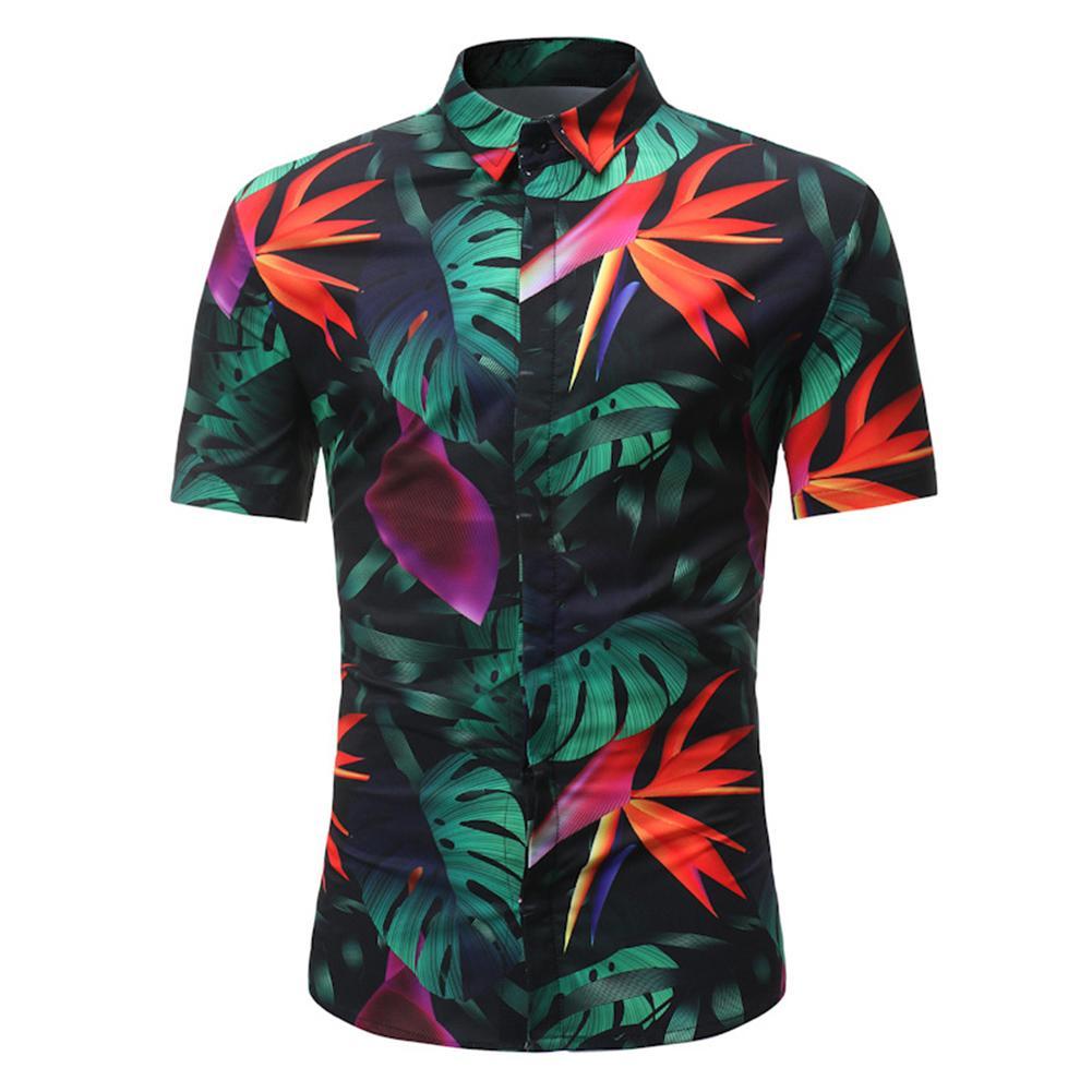 2018 Spring And Summer New Tide Male British Casual Printing Sleeve Shirt Fashion British Seaside Holiday Shirt Shirts front + Pants