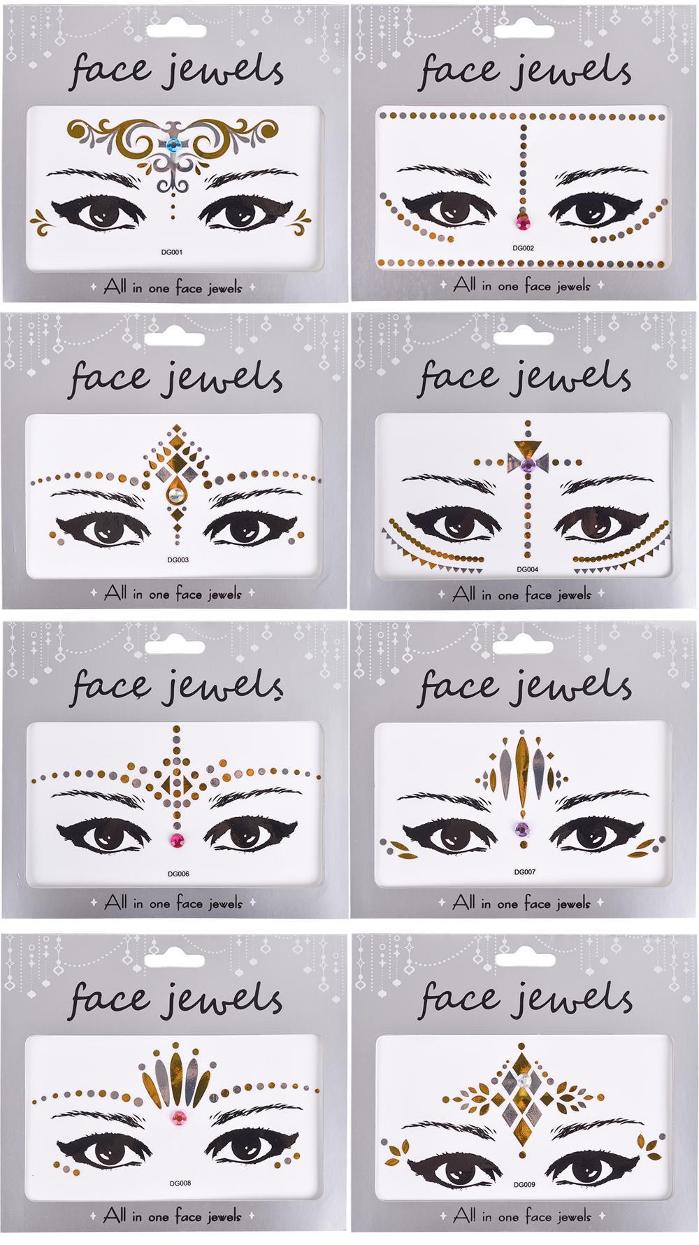 De Mode Visage Autocollant De Tatouage Bling Bling Bijoux Visage Yeux Beauté Maquillage Autocollant Body Art Peinture Tatouage Temporaire DG001-033